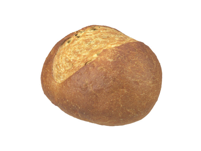 perspective view rendering of a semmel bread roll 3d model
