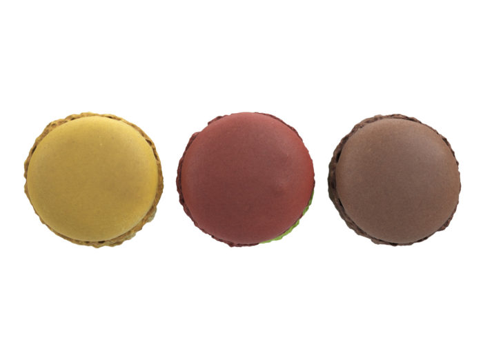 top view rendering of a set of three different macaron 3d models