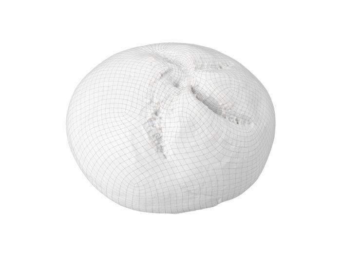 wireframe rendering of a semmel bread roll 3d model
