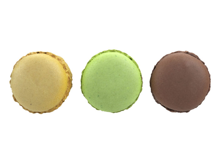 bottom view rendering of a set of three different macaron 3d models