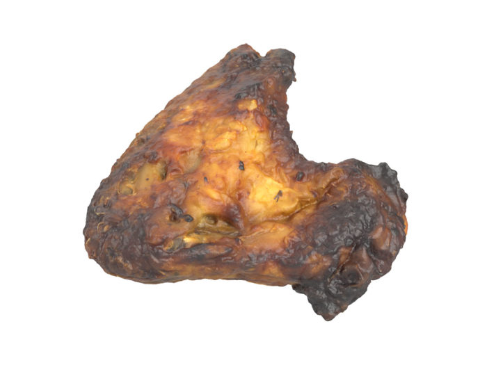 perspective view rendering of a grilled chicken wing 3d model