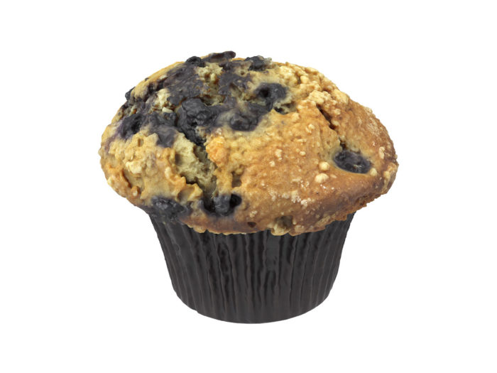 perspective view rendering of a blueberry muffin 3d model
