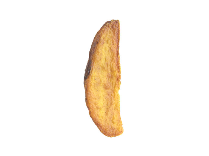 side view rendering of a fried potato wedge 3d model