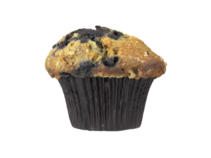side view rendering of a blueberry muffin 3d model
