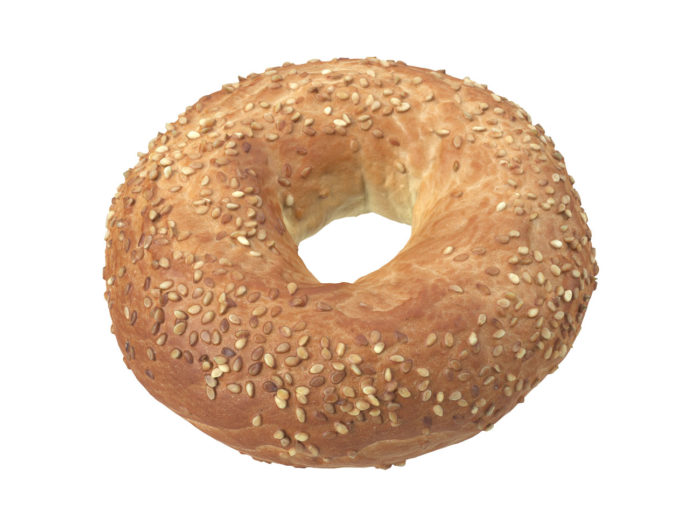 perspective view rendering of a sesame seed bagel 3d model