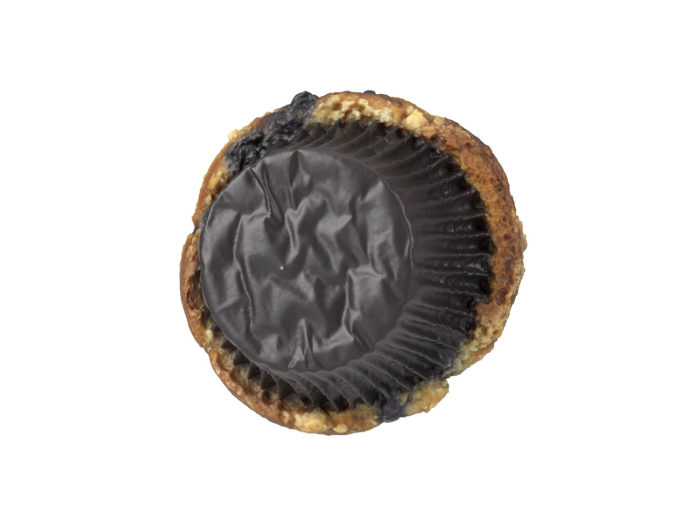 bottom view rendering of a blueberry muffin 3d model