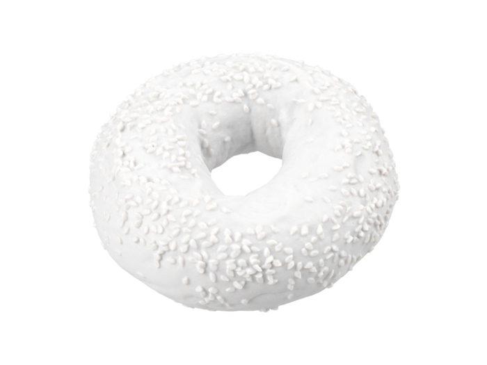 clay rendering of a sesame seed bagel 3d model