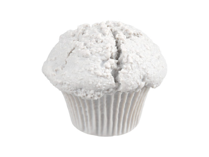 clay rendering of a blueberry muffin 3d model