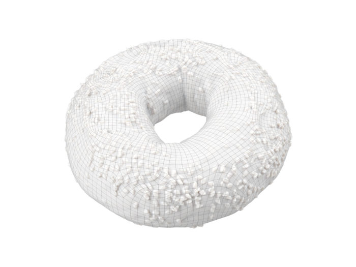 wireframe rendering of a sesame seed bagel 3d model
