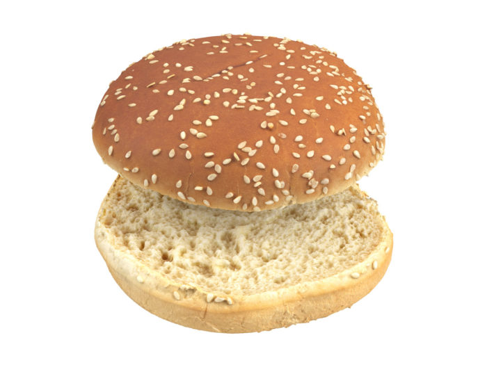 perpective view rendering of a burger bun 3d model