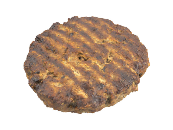 top view rendering of a beef burger patty 3d model