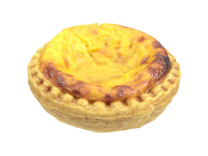 perspective view rendering of an egg tart 3d model