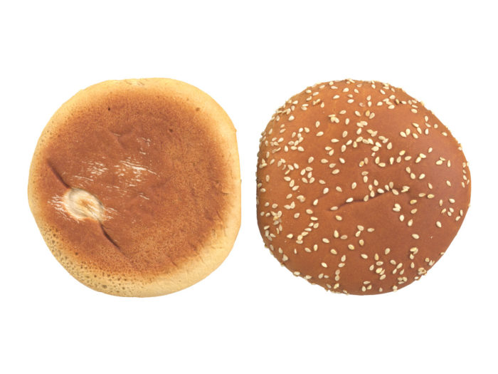 top view rendering of a burger bun 3d model