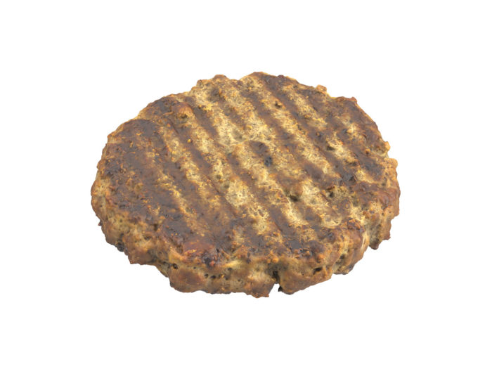 bottom view rendering of a beef burger patty 3d model