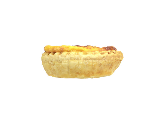 side view rendering of an egg tart 3d model