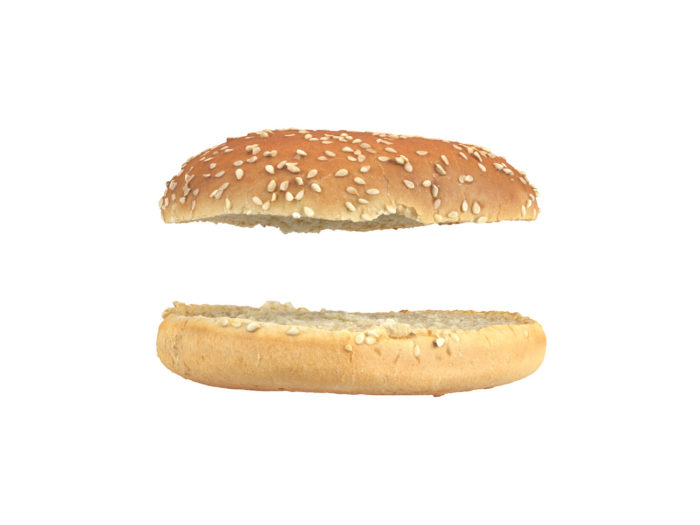 side view rendering of a burger bun 3d model