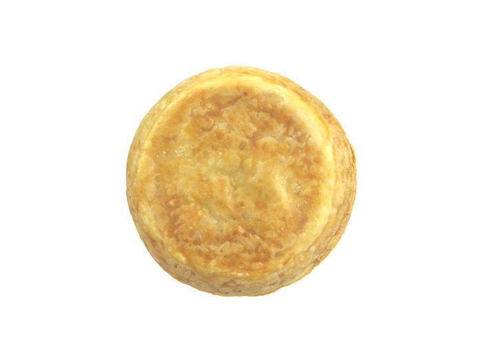 bottom view rendering of an egg tart 3d model