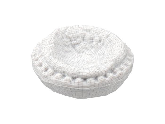 wireframe rendering of an egg tart 3d model