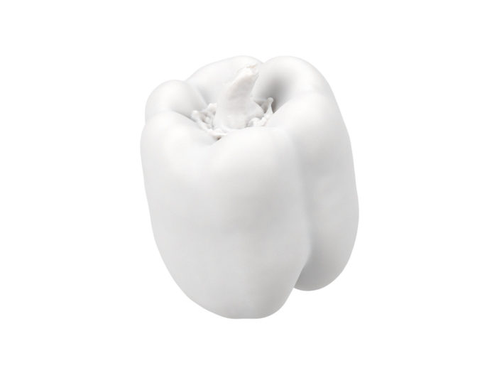 clay rendering of a bell pepper 3d model