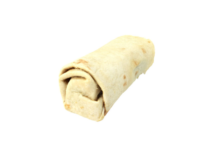 bottom view rendering of a couscous wrap 3d model
