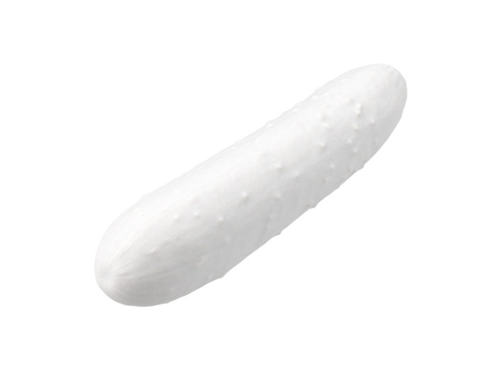 clay rendering of a cucumber 3d model