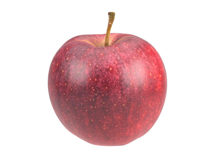 perspective view rendering of a red apple 3d model