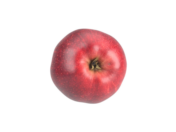 bottom view rendering of a red apple 3d model