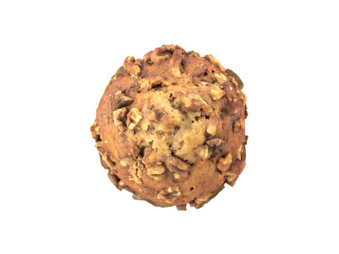 top view rendering of a banana walnut muffin 3d model
