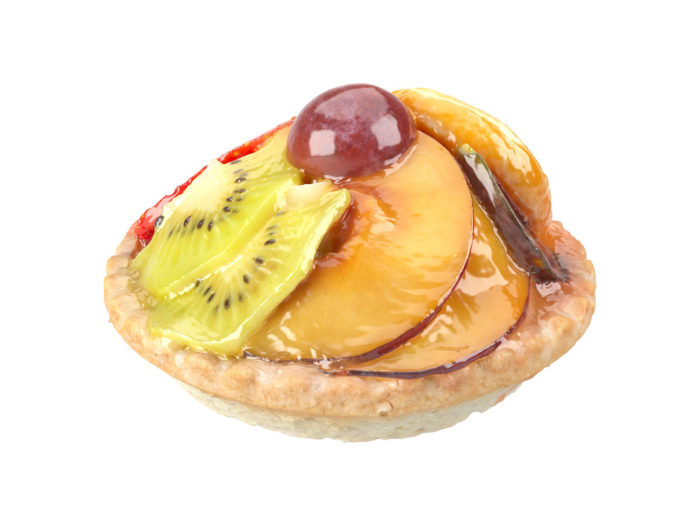 perspective view rendering of a mini fruit tart 3d model