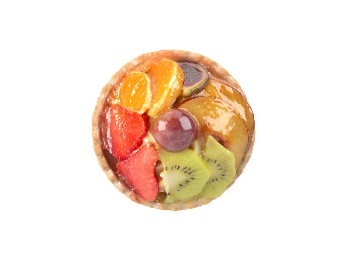 top view rendering of a mini fruit tart 3d model
