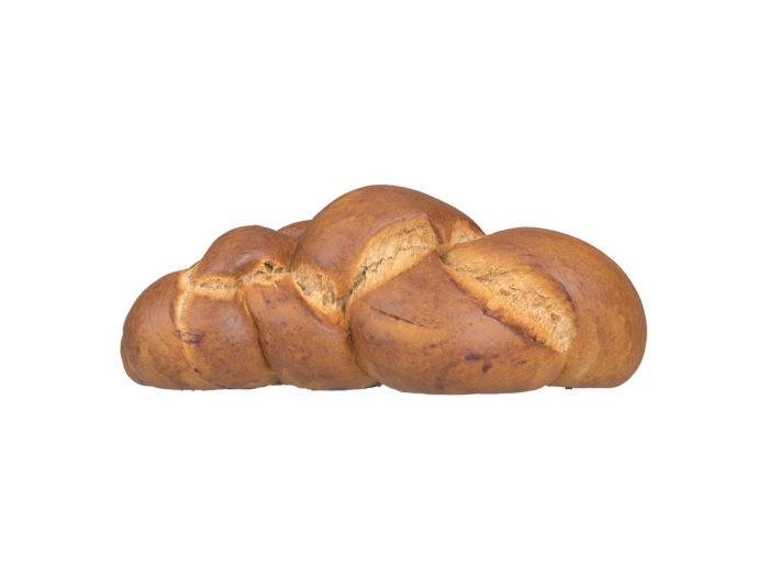 side view rendering of a swiss zopf bread 3d model