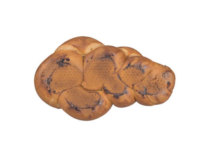 bottom view rendering of a swiss zopf bread 3d model