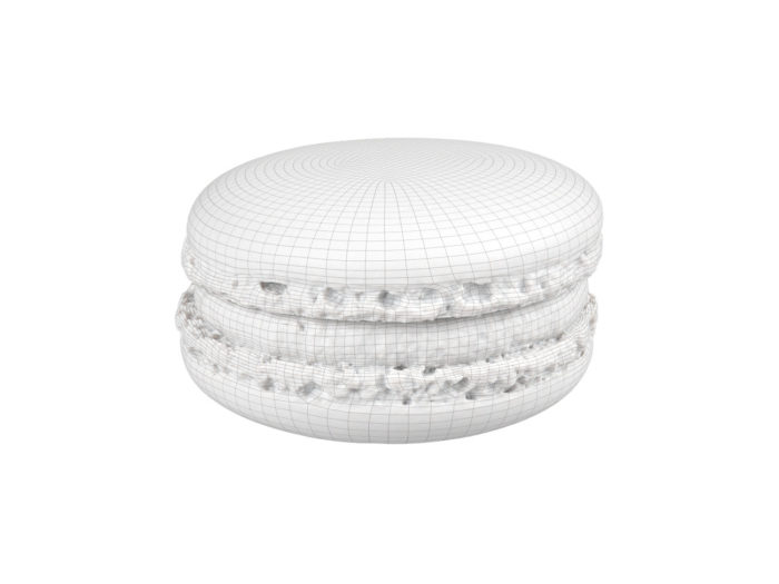 wireframe rendering of a blueberry macaron 3d model