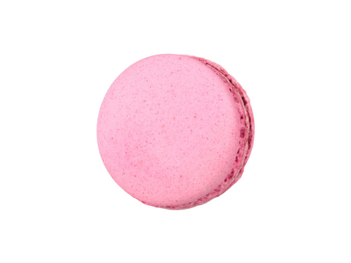 top view rendering of a raspberry macaron 3d model