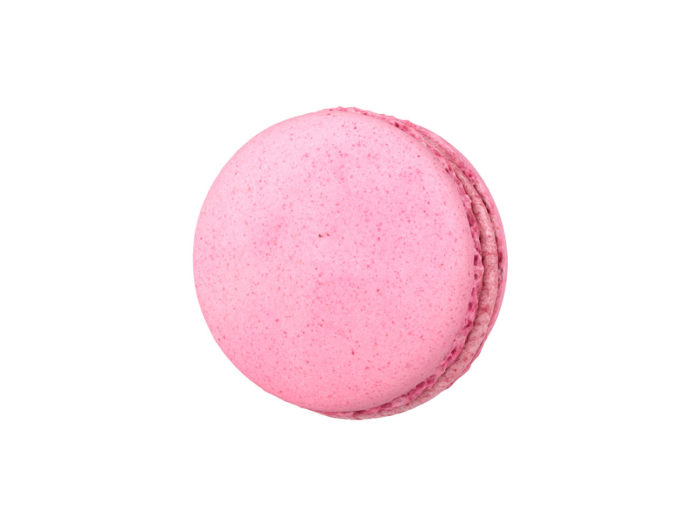 bottom view rendering of a raspberry macaron 3d model