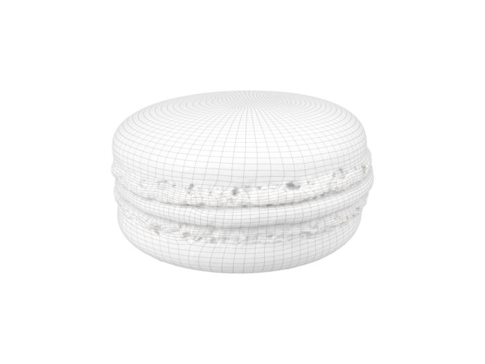 wireframe rendering of a raspberry macaron 3d model