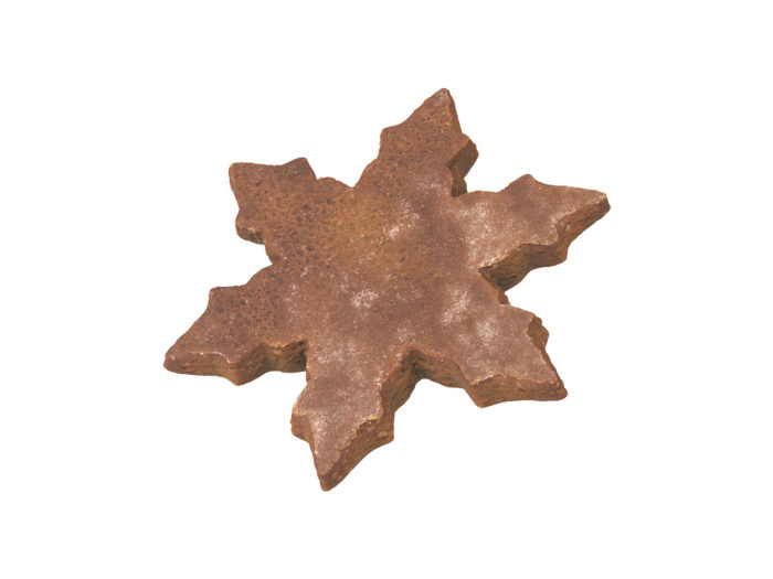 perspective view rendering of a gingerbread snowflake 3d model