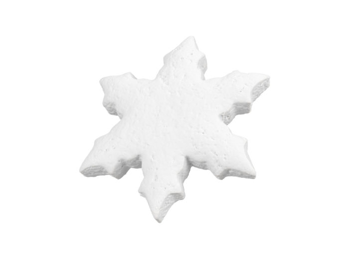 clay rendering of a gingerbread snowflake 3d model