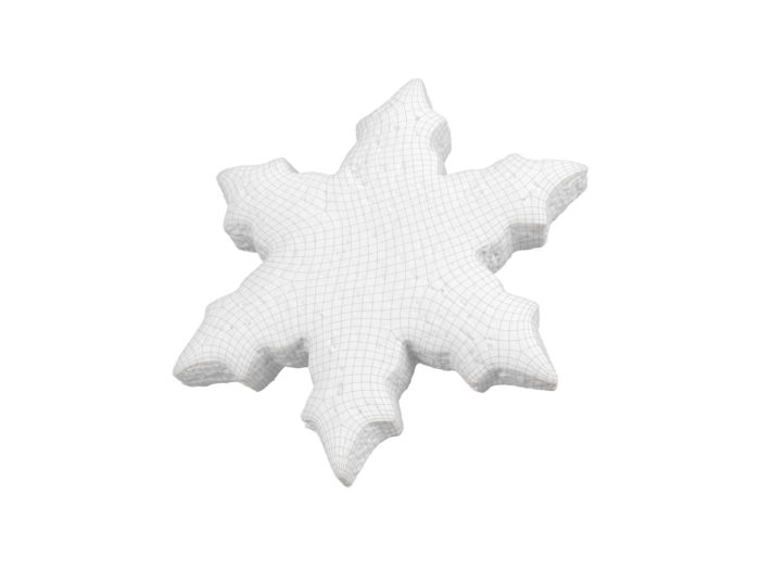 wireframe view rendering of a gingerbread snowflake 3d model