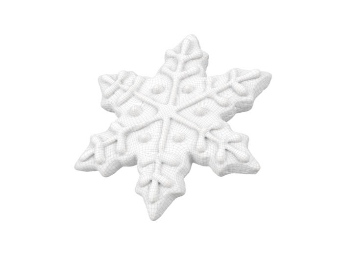 wireframe rendering of a gingerbread snowflake 3d model