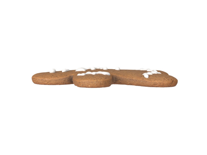 side view rendering of a gingerbread man 3d model