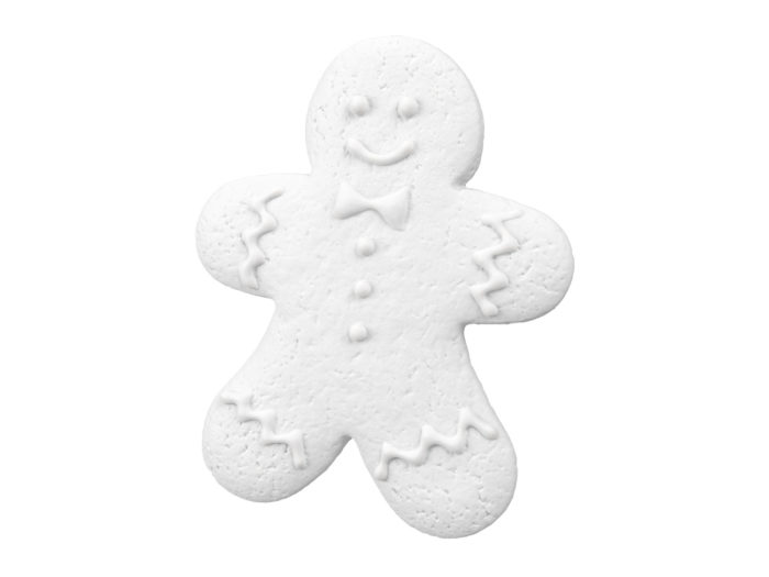 clay rendering of a gingerbread man 3d model