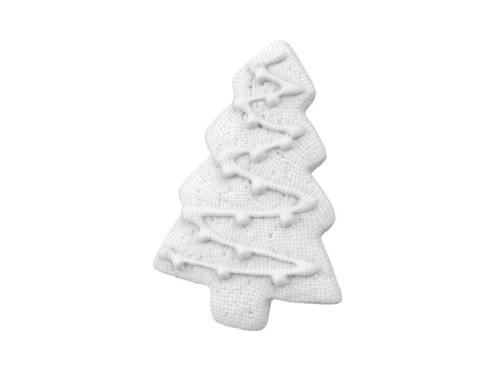 wireframe rendering of a gingerbread christmas tree 3d model
