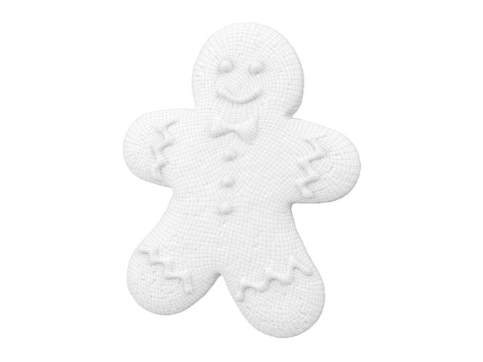 wireframe rendering of a gingerbread man 3d model