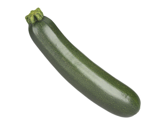 side view rendering of a zucchini 3d model