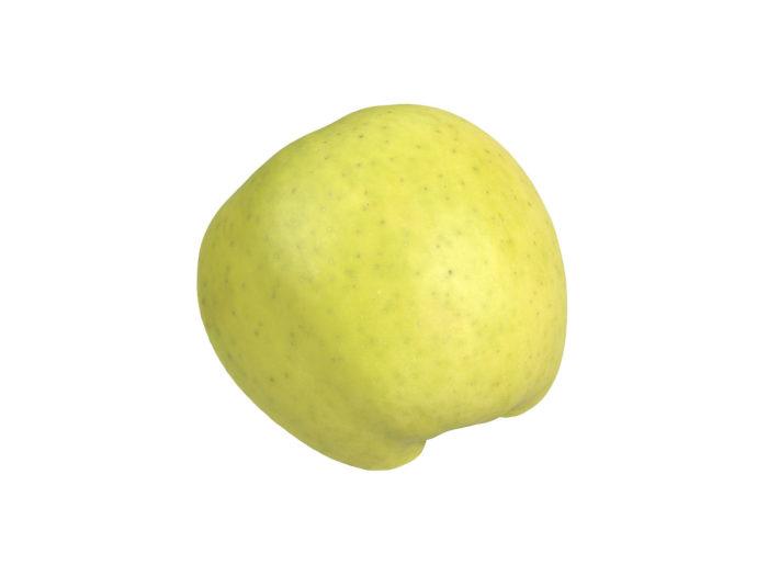 side view rendering of an apple half 3d model