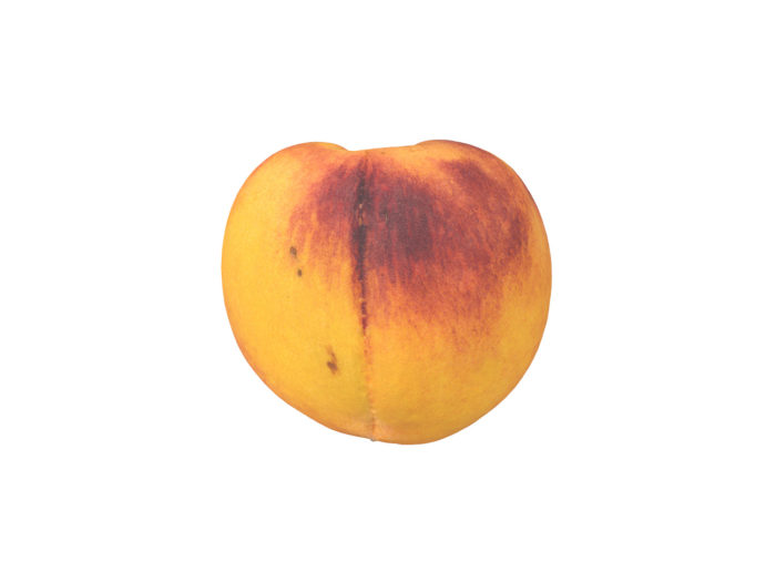 side view rendering of a peach 3d model