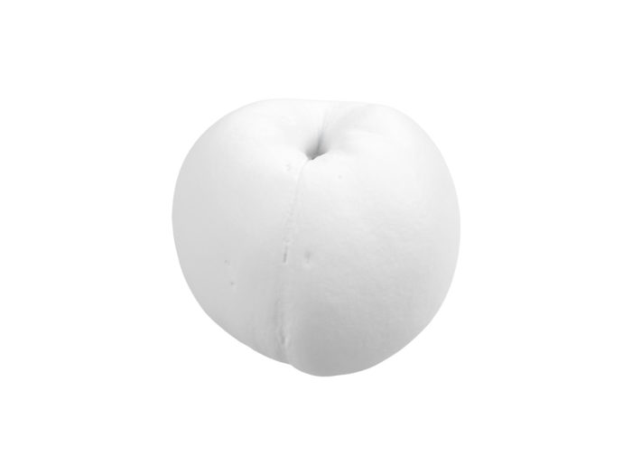 clay rendering of a peach 3d model