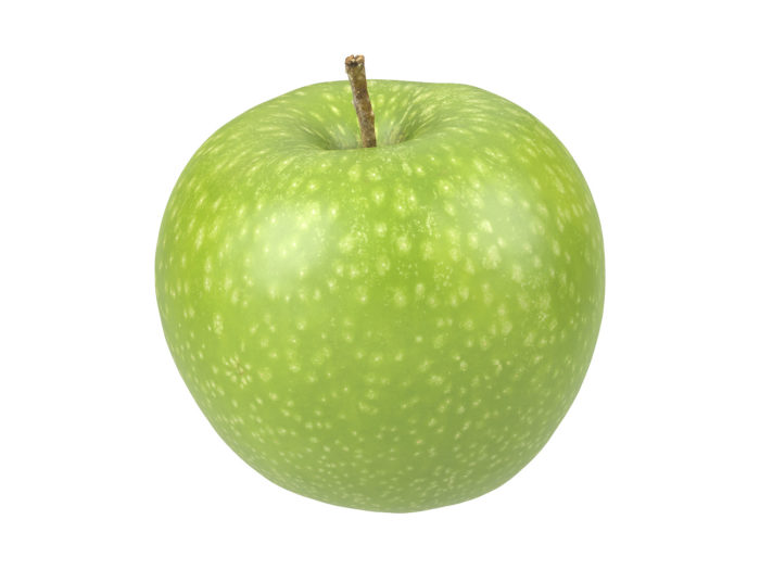 perspective view rendering of a green apple 3d model