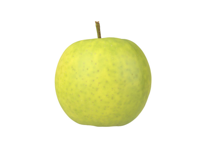 side view rendering of a green apple 3d model